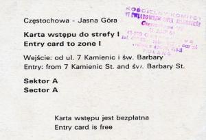 1991, 08 15, ŚDM, karta wstępu